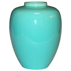 Awaji Ginger Jar in Sky Blue Glaze  Japan  Circa 1930  Awaji ginger jar/vase in terrific light blue glaze.