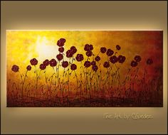 Evoke the soothing feeling of an 'Autumn Valley' with this abstract art painting. Showcasing lovely burgundy flowers, this large original canvas art is a focal point. Canvas Paintings For Sale, Canvas Art, Abstract Paintings, Fine Art Posters, Painting Gallery, Art Prints, Autumn, Valley Flowers, Acrylics