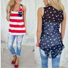 de1862fa18ee Womens USA American Flag Tank Top Stars Stripes