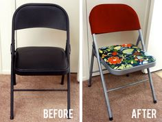 Dressing up folding chairs from Wal-Mart - I like it!   #DIY #furniture