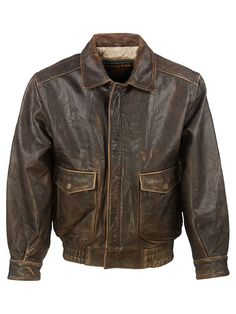 Vintage Wilsons Vintage Aviator Jacket - L, Regular Fit, size Size L . Colour Dark Brown and made from 100% Cowhide Leather with with Black Lining and and YKK Front Zip Fastening fastening.