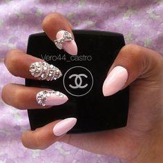 Blush Pink Almond Stiletto Nails :: Love the diamond detail!