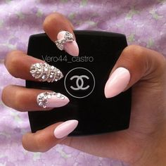 Blush Pink Almond Stiletto Nails :: Love the diamond detail!