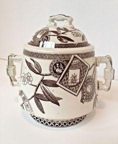 Victorian Aesthetic Movement Transferware Sugar/Biscuit Jar in Antiques | eBay