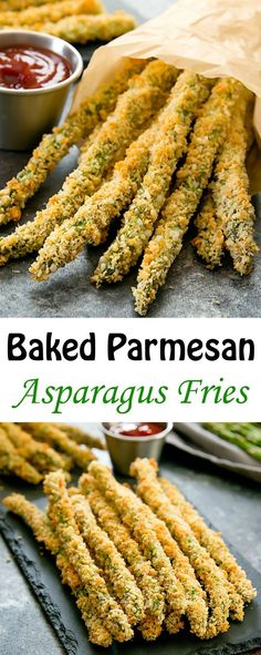 Baked Asparagus Fries are a healthier alternative to regular fries. Asparagus st… Baked Asparagus Fries are a healthier alternative to regular fries. Asparagus stalks are coated in panko crumbs and parmesan cheese and baked until crispy. Asparagus Fries, Baked Parmesan Asparagus, Baked Asparagus Recipes, Asparagus Dishes, Asparagus Appetizer, Salmon Recipes, Asparagus On The Grill, Meals With Asparagus, Vegetarian Recipes Asparagus