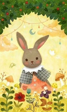 森小兔小姐。我想跟你一起玩,好吗?【阿团丸子】 Kawaii Illustration, Pattern Illustration, Sweet Drawings, Bunny Images, Rabbit Art, Cute Cartoon Animals, Bunny Art, Vintage Easter, Cute Characters