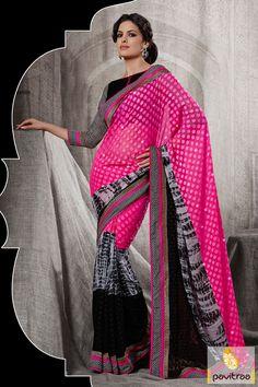 Pavitraa Black Pink Printed Party Wear Saree #sarees #designersarees #stylishsarees #weddingsarees #onlinesarees #indiansarees