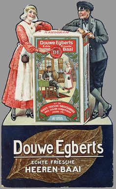 "Douwe Egberts, Echte Friesche Heeren-Baai, tabaco, 1925-1950. Also Dutch Coffee Brand Mark,Douwe Egberts, from the province ""Friesland"", The Netherlands."