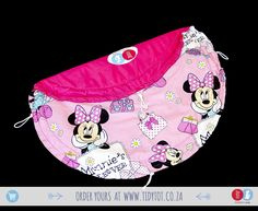 """Tidy Tot - Super cute and timeless in every sense of the word, your childs face will light up every time she sees her Minnie Mouse Tidy Tot filled to the brim with her favourite toys and accessories. Beautifully PADDED for your child's comfort it has 2 """"crystal"""" beads.  www.tidytot.co.za 