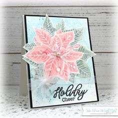 Handmade card by Julee Tilman featuring stamps from Sweet 'n Sassy Stamps and paints from Shimmerz. Christmas Makes, Winter Christmas, Holiday, Poinsettia Cards, I Card, Cheer, November, Card Making, Paper Crafts