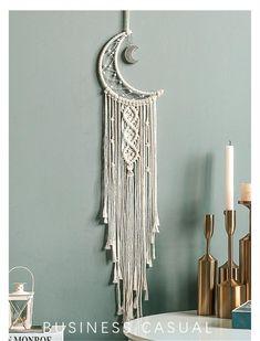 Macrame Wall Hanging Patterns, Macrame Art, Macrame Design, Macrame Projects, Macrame Patterns, Tapestry Wall Hanging, Macrame Wall Hangings, How To Do Macrame, Moon Tapestry