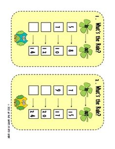 "Here's a St. Patrick's day themed activity with 8 different problem cards and a recording sheet. Students are given an ""in"" number and then an ""out"" number and must figure out the rule."