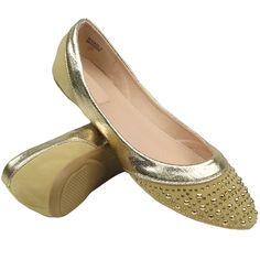 Womens Ballet Flats Studded Toe Cap Metallic Contrast Beige