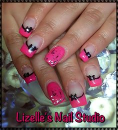 Hot pink with black lines & bows with Marilyn Monroe decals and silver gems. Hand-painted nail art. Sculpted gel nails. www.facebook.com/LizellesGelNails