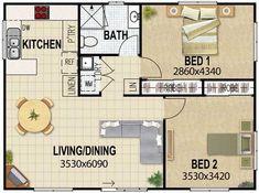 Plano de casa con living y comedor