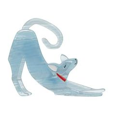 """Erstwilder Limited Edition The Dev Stretch Brooch. """"Just warming up for my next trick. Which, to be honest, is probably me just going back to sleep. Still, worth it. Cat Jewelry, Jewellery, Resin Jewelry, Quirky Gifts, Halloween Cat, Dungeons And Dragons, Stretches, Dog Cat, Light Blue"""