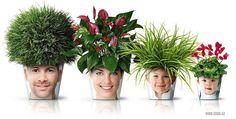 Family Photo Flower Pots-this is so much better than a chia pet! Chia Pet, Nachhaltiges Design, Design Ideas, Interior Design, Plant Design, Flower Pot Design, Fleurs Diy, Deco Nature, Plantar