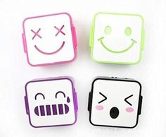 Mini Cute Expression Contact Lens Case Eye Care Box Four Colors Random Delivery By U-Beauty