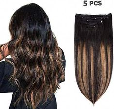 Enjoy exclusive for 5 Pieces 14 Remy Clip Hair Extensions Human Hair Natural Black Chestnut Brown Highlight Black Ombre - Silky Straight Short Thick Real Hair Extensions Women inches, online - Herearetopshopping Brown Hair With Blonde Highlights, Brown Ombre Hair, Brown Hair Colors, Hair Highlights, Black Ombre, Hair Colour, Golden Brown Hair, Light Brown Hair, Dark Hair