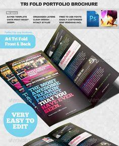 Product / Portfolio A4 Three Fold Brochure Layout Brochure Layout, Brochure Template, Free To Use Fonts, Product Portfolio, Three Fold, Business Brochure, Marketing Tools, Clean Design, Brochures