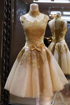 Champagne And Gold Lace Homecoming Dress,Short Prom Dress,Back To School Dresses, Prom Dresses For Teens