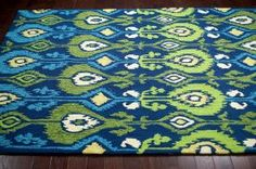 Sundeck Indoor Outdoor Ikat Blue Rug | Contemporary Rugs, 5' x 8' on sale for $102