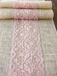 Burlap table  runner wedding table runner with dusty rose lace rustic table decor , handmade in the USA