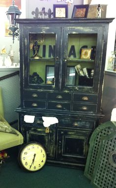 Vintage hutch painted Black & green, distressed www.facebook.com/thesilvernest484