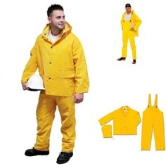 Rain-Suit Safety Yellow Coat Hood Pants 3pc Heavy Duty Gear .35mm 2XL Radnor #Radnor #Rainwear