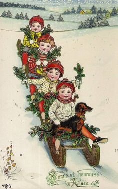 vintage card happy new year children Beautiful Christmas Cards, Vintage Christmas Images, Christmas Photo Cards, Retro Christmas, Christmas Pictures, Christmas Greeting Cards, Christmas Art, Winter Christmas, Vintage Images