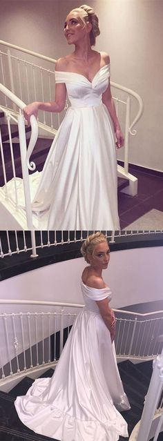 Ruffles Wedding Dresses, White A-line/Princess Wedding Dresses, Long White Wedding Dresses, 2017 Wedding Dresses Cheap Sexy Off-the-shoulder Elastic Woven Satin Elegant Bridesmaid Dresses, Wedding Dresses 2018, Wedding Dresses Plus Size, Princess Wedding Dresses, Cheap Wedding Dress, Bridal Dresses, 2017 Wedding, Modest Wedding, Wedding White
