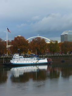 Steamboat on Willamette River Superfund site in Portland, OR. Fremont bridge in background  ©Studio Gauthier, all rights reserved.  #Fall #AutumnScene  P1090596 Nov 2012 #Steamboat, #Portland OR #nautical art #Riverfront