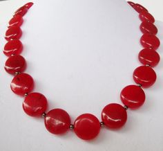 Ruby Red Jade Necklace on Etsy, $36.00