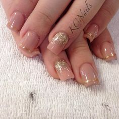 Peach/nude acrylic nails. Gold reverse fade. With hand painted gold trim.  KCNails