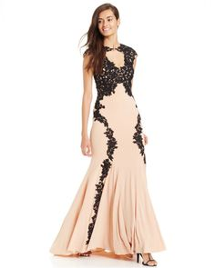 Betsy & Adam Lace-Overlay Keyhole Gown in Pink (Black/nude)