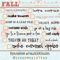 Fall bucketlist-So stoked for fall. :)