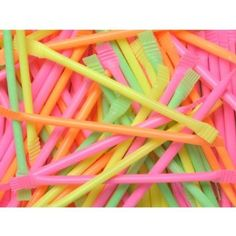 80s Party Table Decoration - 120 Neon Rainbow Dust straws - Sherbert Straws