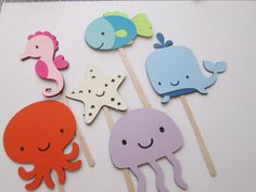 Under the Sea Cupcake Toppers- Under the Sea theme, Summer Parties, Birthday Parties, Sea Creatures.