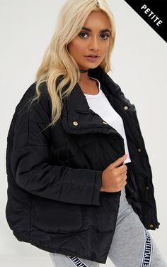 Black Cropped Puffa Jacket with Front Pockets
