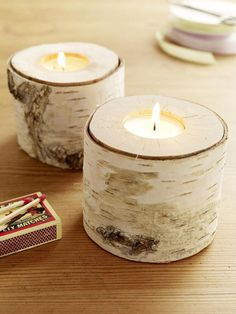 make holes into pieces of thick birch branches so that a teacandle fits inside