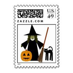 Halloween Witch Cat and Pumpkin Pagan Postage Stamps by www.cheekywitch.com #zazzle #witch #wicca #wiccan #pagan #postage #postagestamps #cat #pumpkin #halloween #cheekywitch