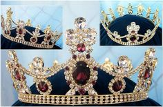 Crown/Royal Tsarina State Rhinestone Full Gold Queen, King Crown UNISEX