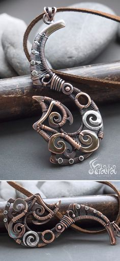 Fish hook copper pendant // Mixed metals copper and silver wire wrapped tribal fish hook necklace // Maori symbol fish hook copper necklace