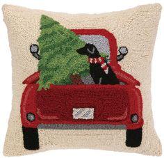 Peking Handicraft Lab and Christmas Tree Truck Hook Wool Throw Pillow