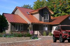 Copper Penny Coil Flats Metal Roofing - Pictures Of Houses With Copper Colored Metal Roofs Metal Roof Paint, Metal Roof Panels, Metal Roof Houses, Metal Roof Colors, House Roof, House With Metal Roof, Metal Roof Coating, Metal Roofing Systems, Standing Seam Roof