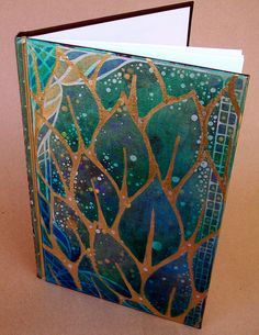Art Journal Cover with gold trimmed leaves - #journal #cover #leaf