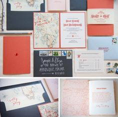 Like custom envelope insert and open invitation card with custom map on one side and invite on other