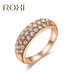 ROXI Clear Crystal Gold White Gold Plated Ring For Women Girl Fashion Jewelry Genuine Austrian Crystals  Wedding Ring