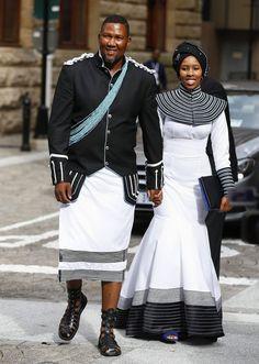 I want to dislike this ensemble but i LIKE it... Mandla Mandela and his wife Nodiyala Picture: EPA/NIC BOTHMA