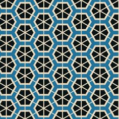 Black and blue hexagons by Stoflab, on Spoonflower